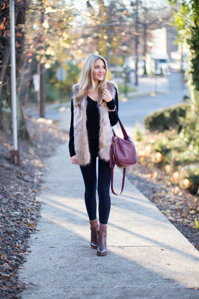 Cute Faux Fur Vest Outfit Vest Outfits Fur Vest Outfits Fur Vest Women