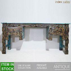 Antique Indian handcarved unique blue hall computer table console study desk