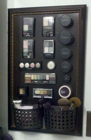 DIY magnetic makeup display/holder. Glue magnets on back of makeup. Great idea! Now to find a way to keep little lady's fingers away from it.