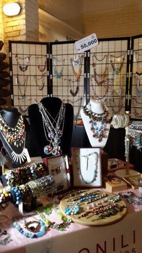 Necklace & bracelet display at Monili booth (pop up garage 2015, 14 feb)