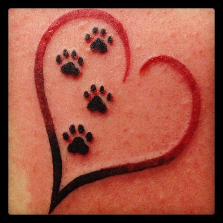 Four Dog Paw Print In Heart Tattoo Design