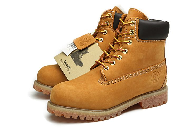 Cheap Timberland Men 6 Inch Boots Wheat With Wool