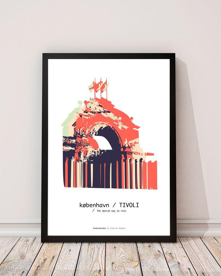 TIVOLI in COPENHAGEN  The danish way to rock / Posters - Serien 'The danish way to rock' er bygninger og monumenter fra det danske land. Tag med på turen rundt i Danmark. Serien er lavet helt fra bunden, startende med et fotografi og bearbejdet i Illustrator. Fin og kunsterisk, med flotte og klare farver.  Trykt på ubestrøget miljøvenligt papir. www.plakatwerket.dk