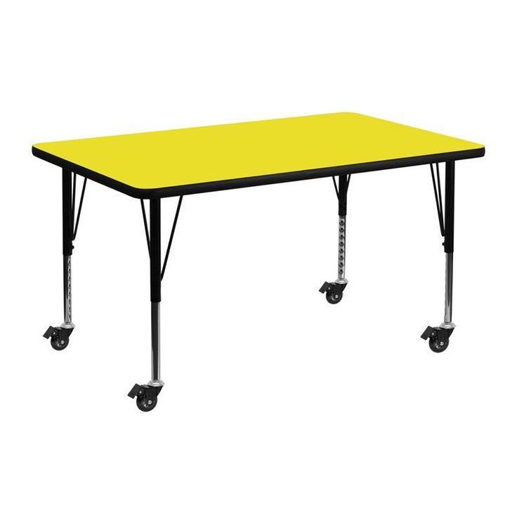 flash furniture 175255inch adjustable legs laminate steel mobile preschool activity table