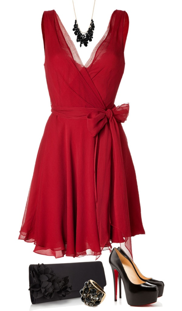 """Red and Black"" by mandalorean ❤ liked on Polyvore - i don;t like the shoes, but the dress is beautiful"