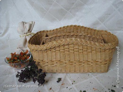 Поделка изделие Плетение Корзинка-органайзер на кухню Трубочки бумажные фото 1