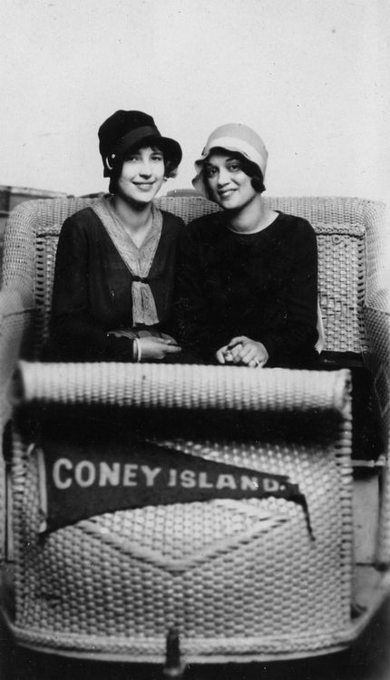 Two 1920s ladies enjoying a ride at Coney Island. #vintage #1920s #women