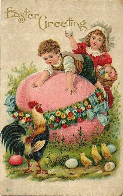 Girl and Boy. Vintage Easter Card. suzilove.com