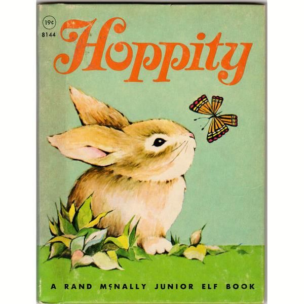 Hoppity 1967 Rand McNally Junior Elf Children's Rabbit Book 8144