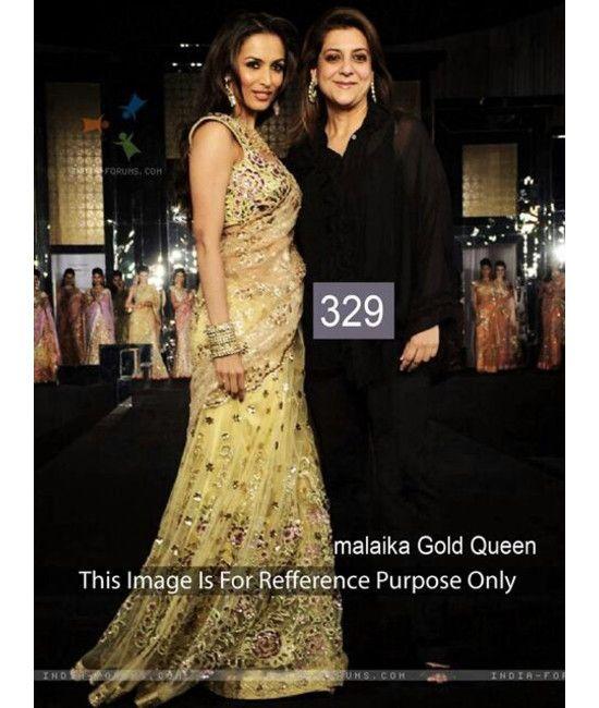 Bollywood Designer Malaika Arora Party Wear GOLD Saree