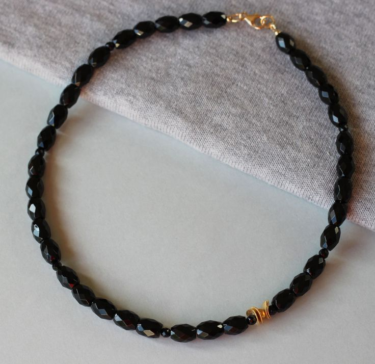 Black Onyx Gemstones with Gold Vermeil Over Silver Beads Necklace by ILgemstones on Etsy