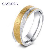 Cacana en acier inoxydable anneaux pour les femmes 18 k plaqué or mode brillante…
