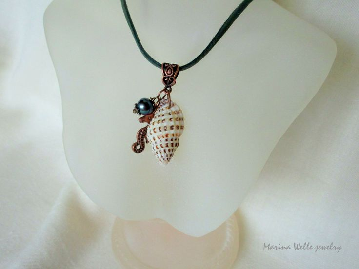 Sea shell pendant with green pearl drop & sea Horse charm Copper pendant Ocean beach style Nautical pendant Summer necklace Copper jewelry  #Seashell #pendant #greenpearldrop #seaHorsecharm #Copperpendant #Ocean #beachstyle #Nautical #Summer #necklace #Copper #jewelry