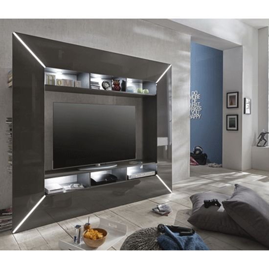 The Item Has Been Finished Entirely In Grey High GlossAdd Feature Lighting To Your Sleek TV Living Unit Amplify Modern Look As Well Showcase