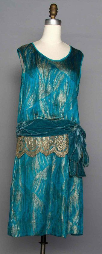 TURQUOISE LAME DRESS, 1920s : Lot 200