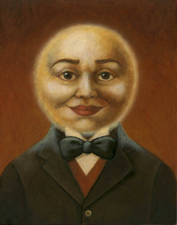 Moon Man Portrait-full moon oil painting moon art