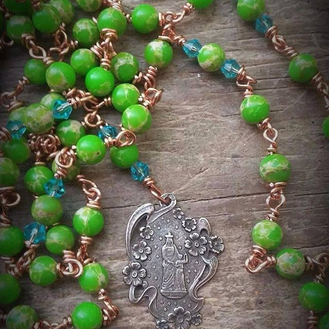 St. Anne, st anne rosary, grandmothers rosary, holy rosary, unique rosary, heirloom rosary,  handmade rosary, heirloom rosary, wirewrapped by MagickAlive on Etsy