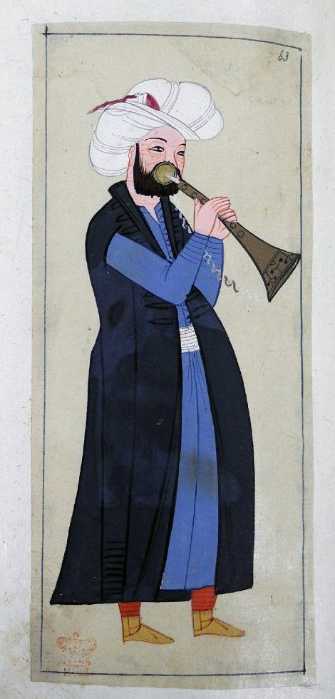 Zurnaci. A mehtar (Janissary band) trumpeter holding a zurna, a trumpet or shawm, which has a brass mouthpiece. Wearing a black kaftan, blue robe, white kuşak, wide turban but no plume. Red trousers and yellow ankle boots.