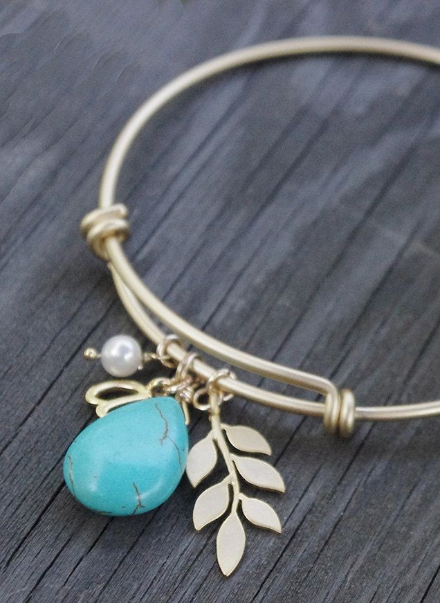 Leaf Branch Bracelet Gold and Turquoise Bangle