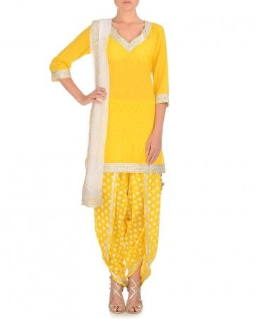 yellow polka dot punjabi suit