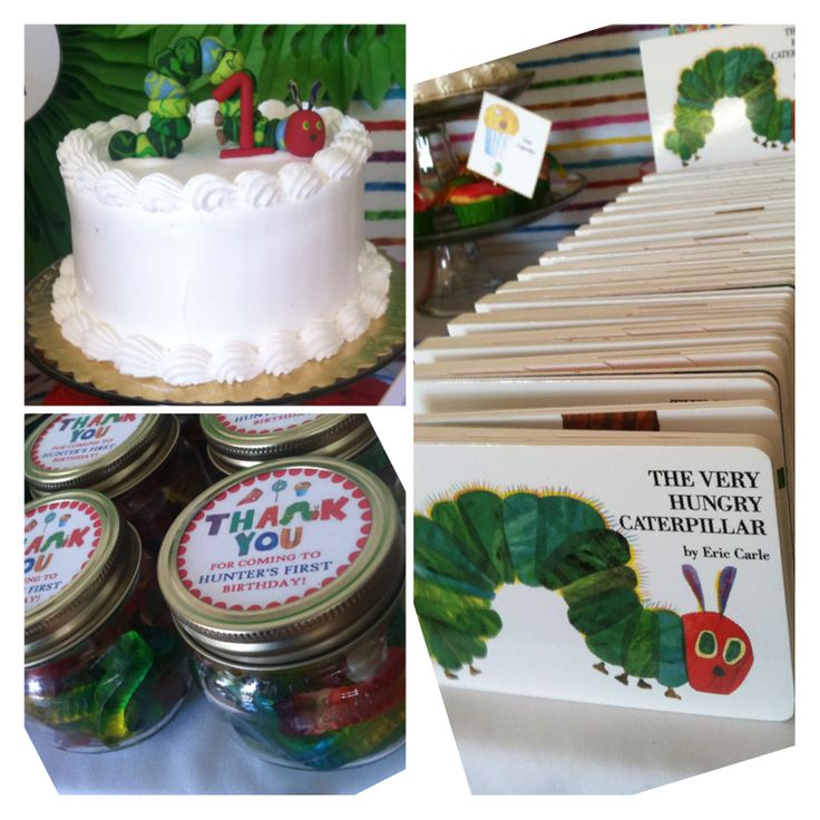 The Very Hungry Caterpillar birthday table!  Book party favors  Gummi worms in jar Smash cake