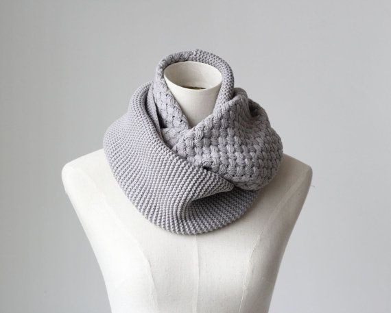 Thickening- Cross stitch pattern knitted infinity scarf, women men unisex winter warm scarves, scarf ring, hood loop, -grey