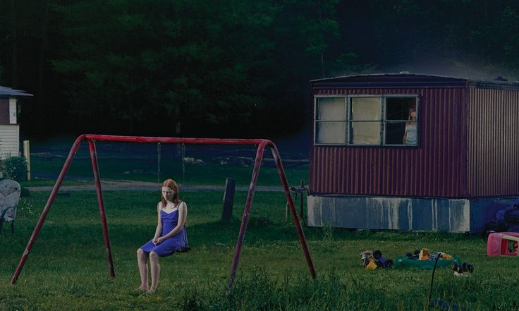 american photographer gregory crewdson. nearly all of his work consists of elaborate cinema-like staging. always analogue.   (http://theamericanreader.com/cms/wp-content/uploads/2012/11/trailer_detail.jpg)