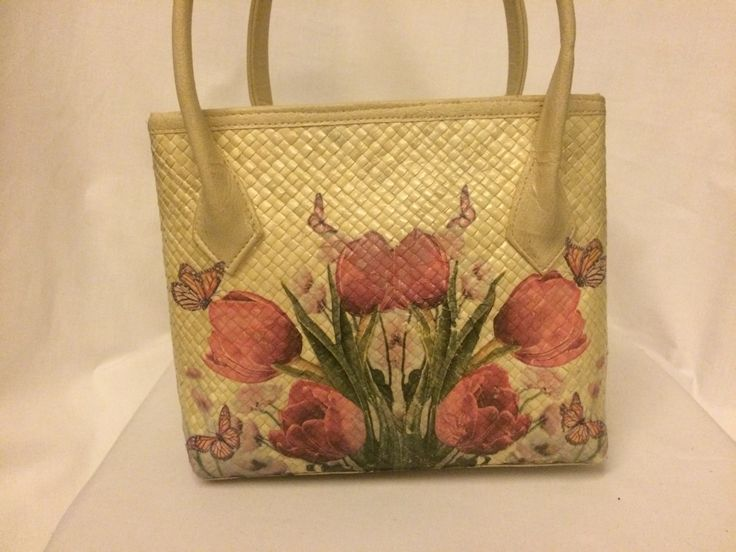 Small size pandan bag with pink tulip flowers