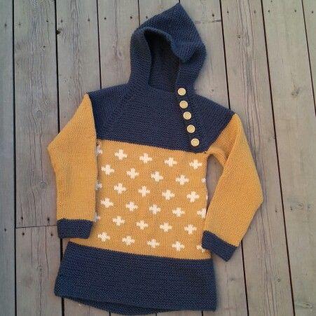 Pickles - Oslo Anorakk med kryssmønster  Boys knit sweater   Pickles - Oslo anorakk with crosspatterns