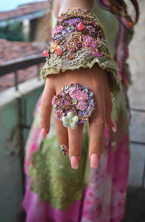Bohemian,romantic ring,gypsy,fairy,mori girl,shabby chic,adjustable ring,Summer…