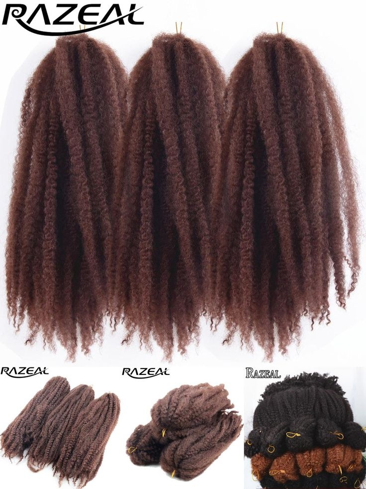 [Visit to Buy] Razeal 5Packs Afro Kinky Marley Braids Hair Crochet Braids Ombre Synthetic Braiding Hair Extensions High Temperature #Advertisement