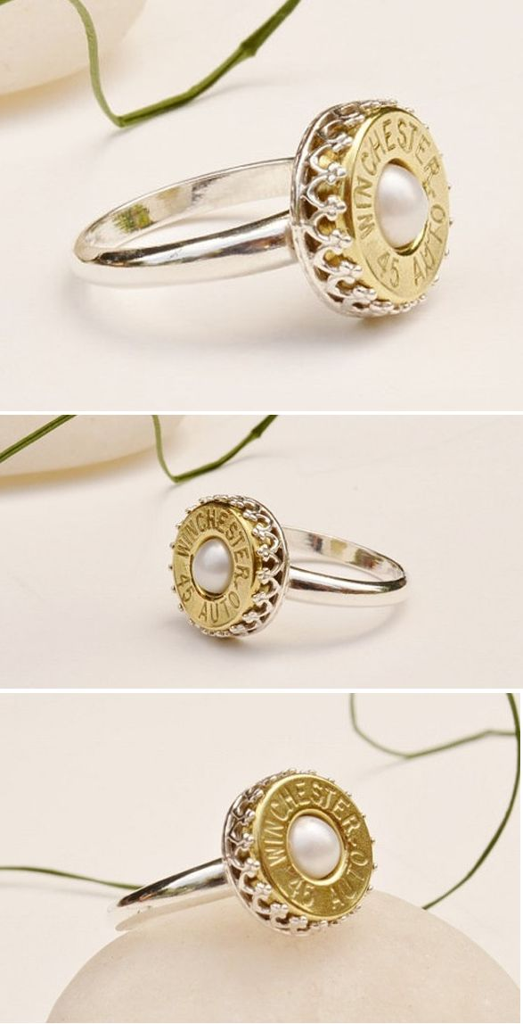 Sterling Silver and Pearl Bullet Ring, Free Shipping!