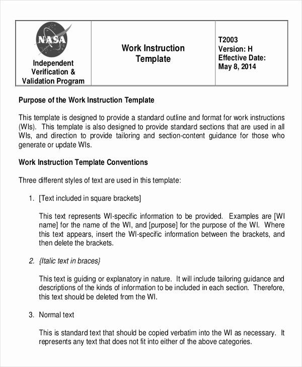 Work Instructions Template Word New Working Instruction Template 6 Free Word Pdf Document Templates Instruction Words