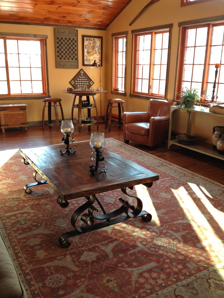 How Gorgeous Does This Wrought Iron And Old Wood Spanish Coffee Table Look On That Beautiful