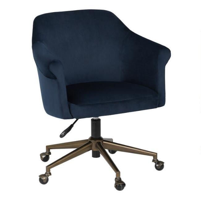 Blue Velvet Declan Upholstered Office Chair Home Office Chairs