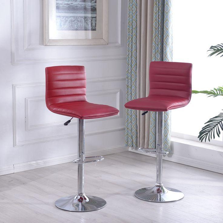 Belleze Set of (2) Fuax Leather Adjustable Bar Stools Swivel Barstool Pub, Burgundy (Red) (Chrome)