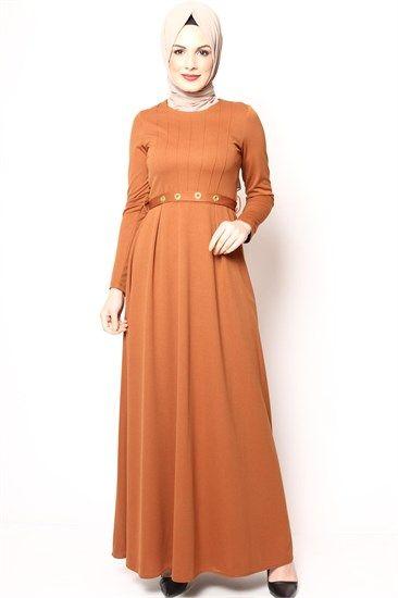 Tesettür Elbise Zımbalı Hardal 2501