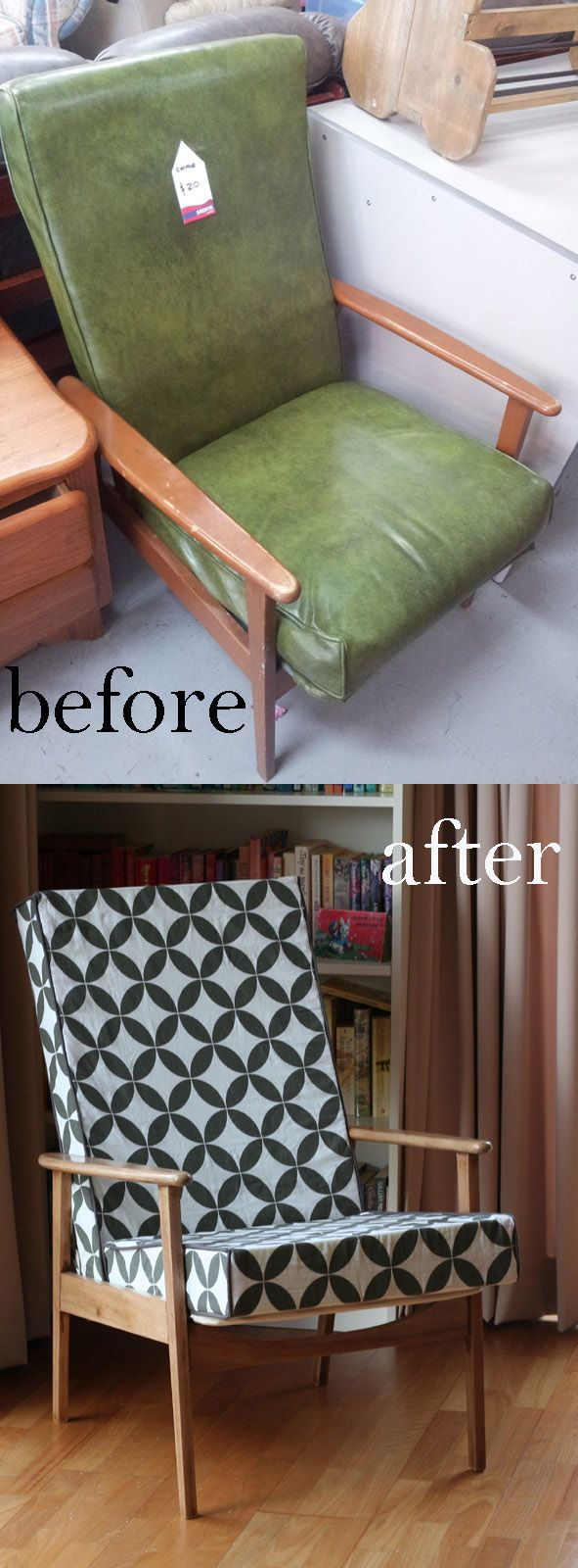 Before and After - Retro Armchair Makeover. Mid century.