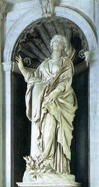 St Bibiana is a sculpture by the Italian artist Gianlorenzo Bernini. It sits in the high altar of the church of Santa Bibiana, Rome. It shows St. Bibiana holding the palm leaf of martyrs, standing next to the column to which she was to be martyred. The bodies of St Bibiana (Viviana or Vibiana), and her mother and sister, and now rest inside an alabaster urn under the major altar. The column just inside the church is said to be the one Bibiana was strapped to.