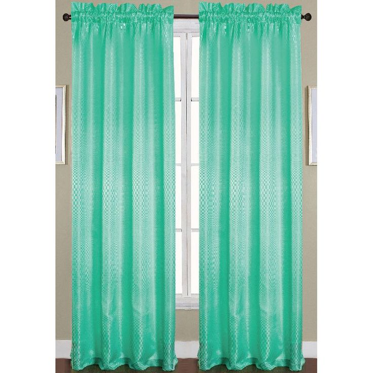 RT Designers Collection Azure Jacquard Rod Pocket Curtain Panel (Aqua), Blue,  Size 90 Inches (Polyester, Geometric)