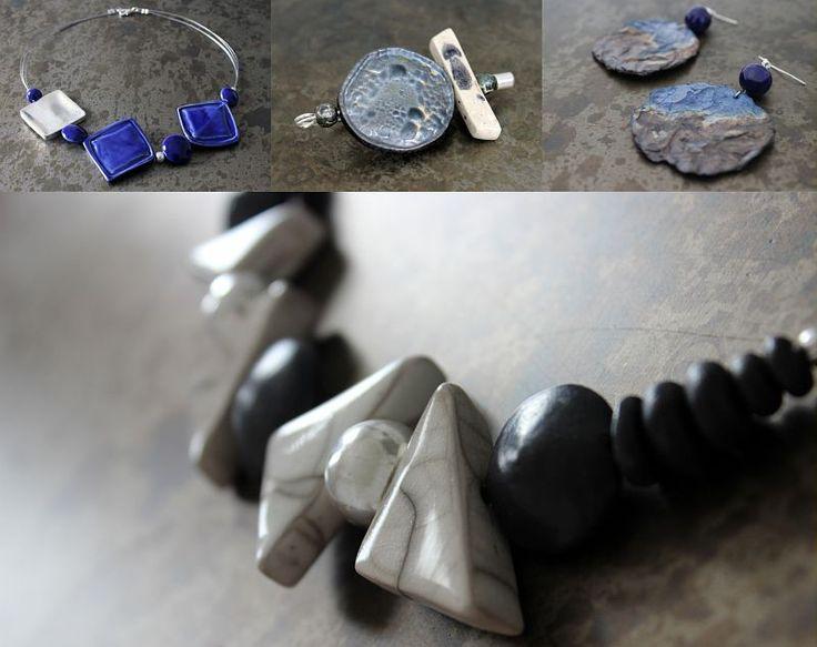 """Allessandra Bianchi"" workshop (Italy). 2015 Argilla. Aubagne. France. International pottery fair. Jewels. Earthenware. Necklace. Earrings"
