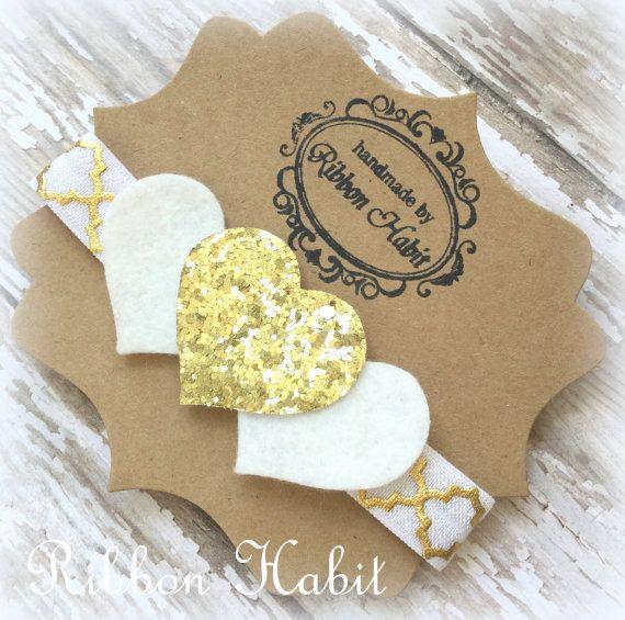 Glitter Heart Headband- Gold & White Glitter- Felt Infant Headband- White Hearts Headband, Glitter Elastic Headband, Gold Toddler Headband