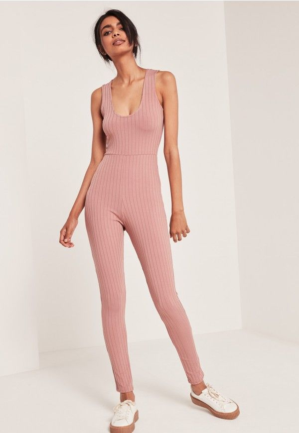 Missguided - Ribbed Plunge Sleeveless Jumpsuit Pink