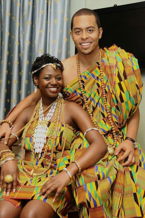 Ghanaian Bride and Groom in traditional Akan Attire.