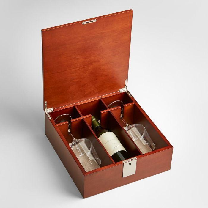 Holzschachtel Mit Weinflasche Und Zwei Gläsern, Geschenkidee Zum  Valentinstag Für Männer