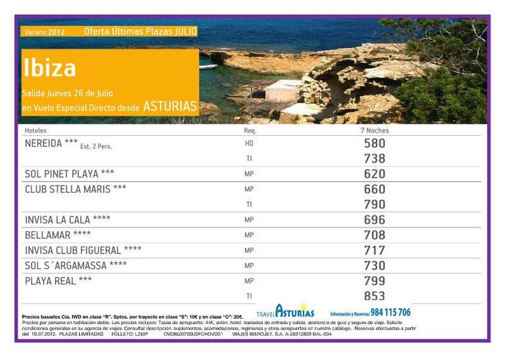 Ibiza desde Asturias. Oferta Ultimo minuto.