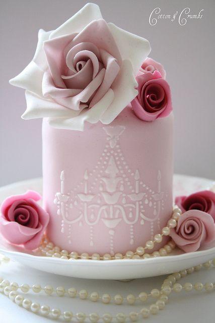-beautiful mini cake (rose, chandelier stencil): Pink Wedding, Minis Cakes, Romantic Wedding, Pink Cakes, Wedding Ideas, Cakes Recipes, Wedding Cakes, Pink Rose, Rose Cakes