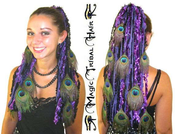 Purple YARN hair FALLS with PEACOCK feathers by MagicTribalHair