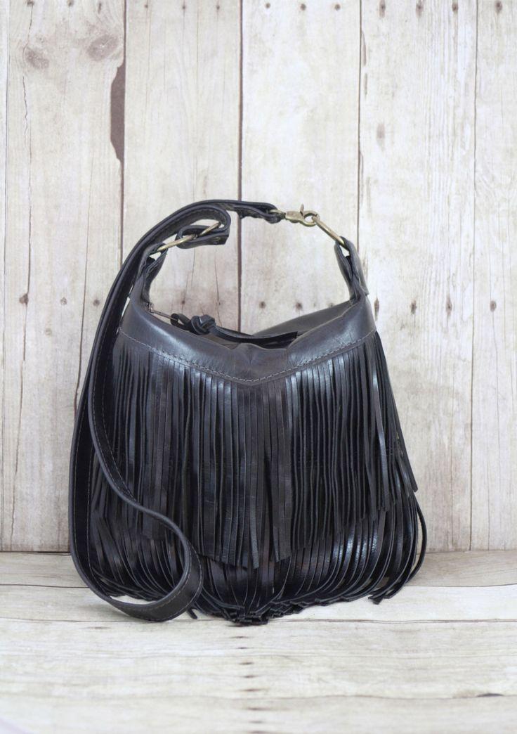 Black Leather Bag, Small Cross Body, Fringe Purse, Southwest Bag, Leather Fringe Bag, Leather Messenger, Black Fringe Bag, Black Handbag by 14xbags on Etsy https://www.etsy.com/listing/221775753/black-leather-bag-small-cross-body