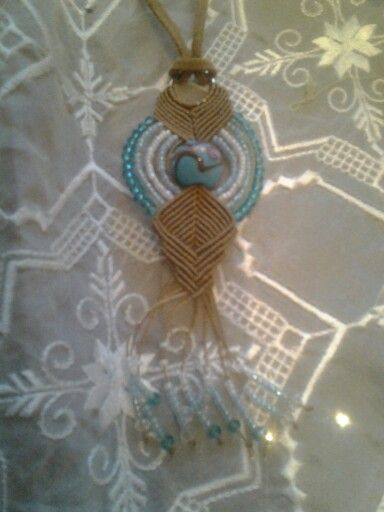 Macrame pendand with crystal beads